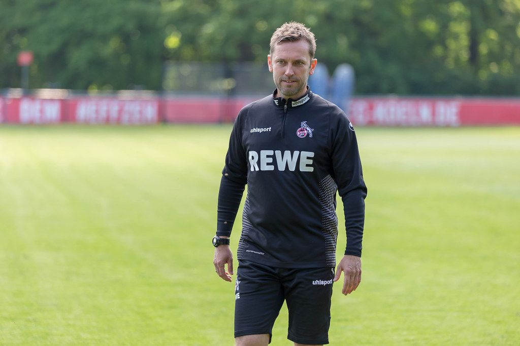 Close-up of the new 1. FC Cologne football coach André Pawlak in black training clothes