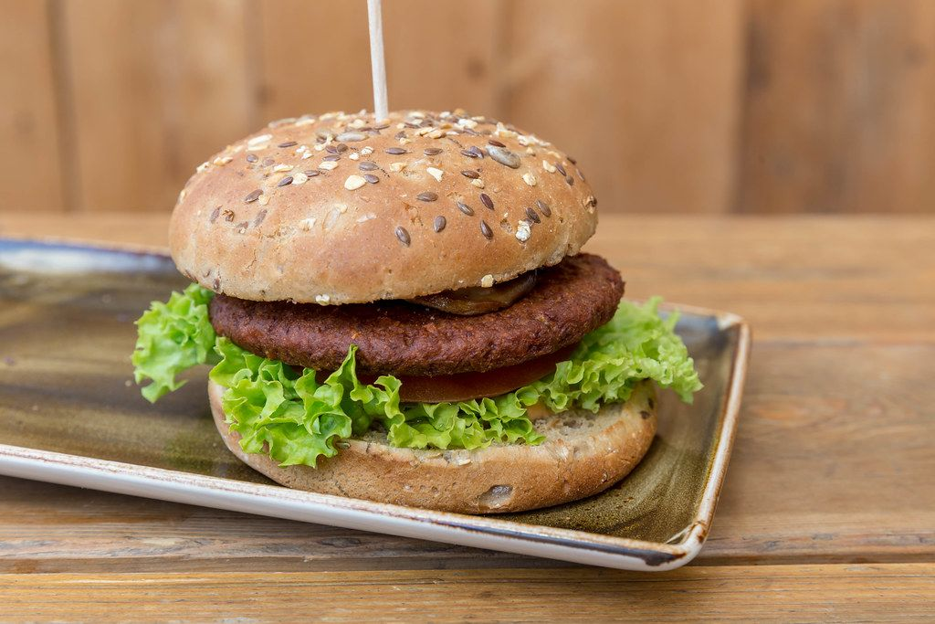 Close-up of the vegan burger and meat substitute