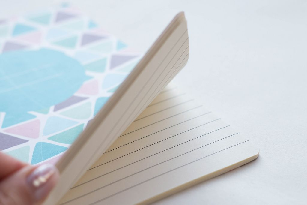 Close up of woman's hands going through the pages in a notebook