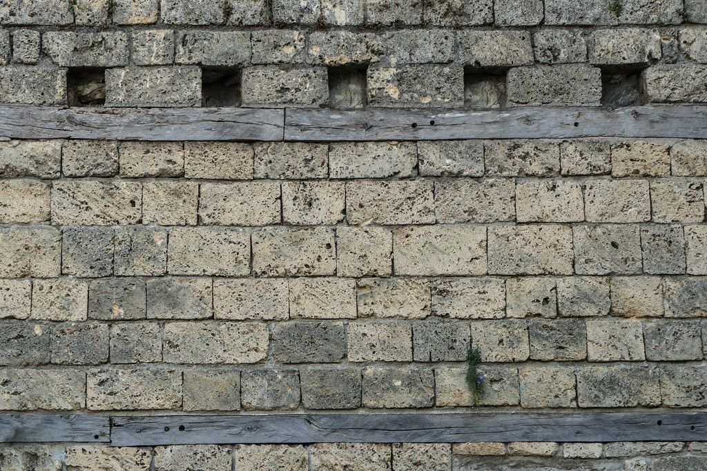 Close Up on the Stone Wall of Medieval Fortress