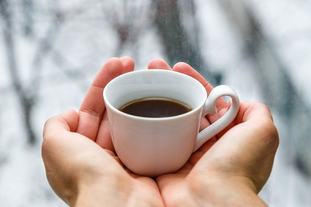 Close Up Photo of Person holding a White Cup of Coffee in both hands with blurry Winter Background