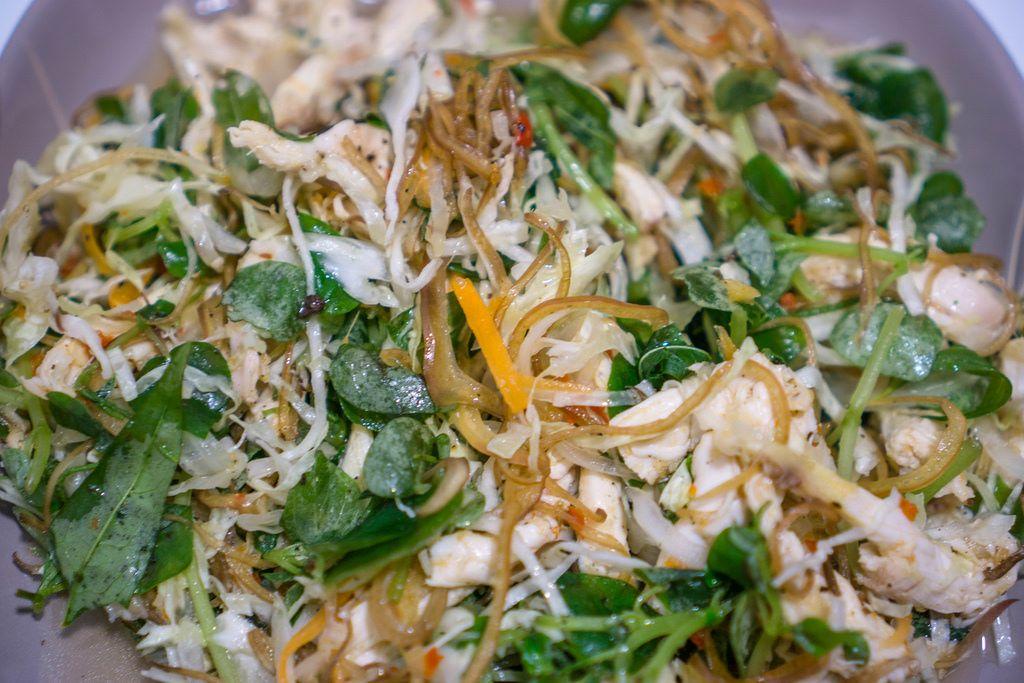 Close Up Shot of Chicken Salad in Vietnam