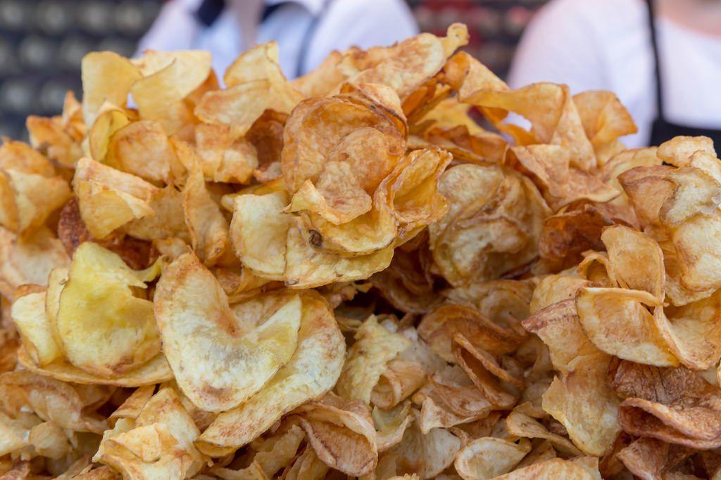 Close-up shot of potato chips
