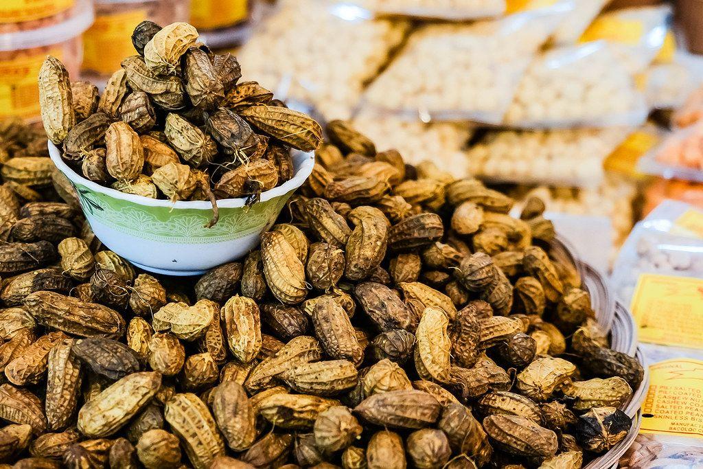 Close up shot of roasted peanuts