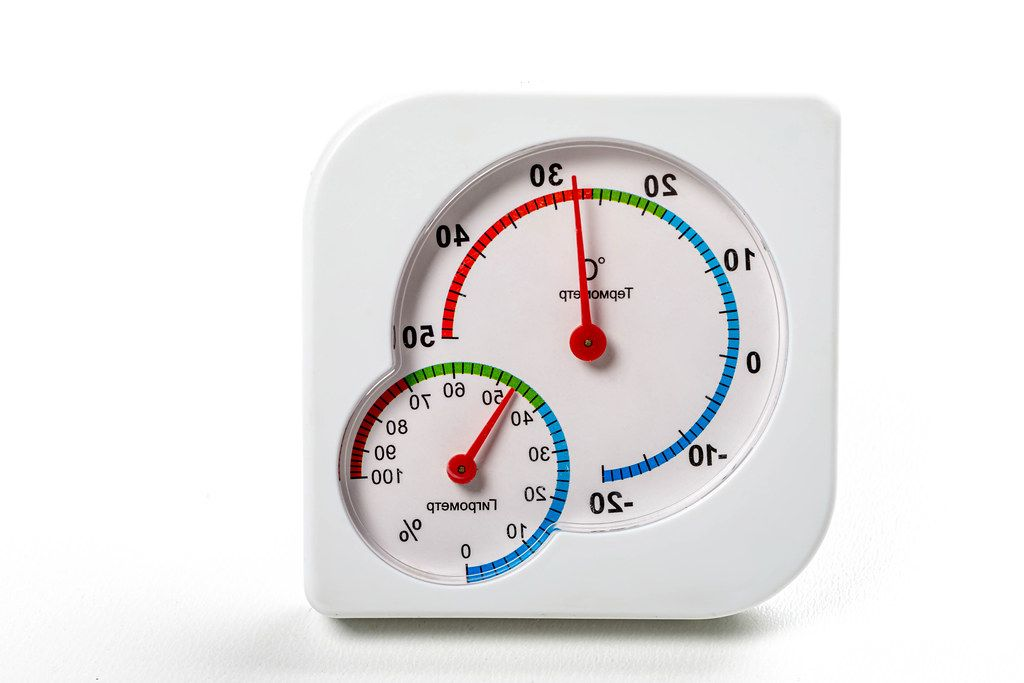 Closeup hygrometer and thermometer on white background (Flip 2019)