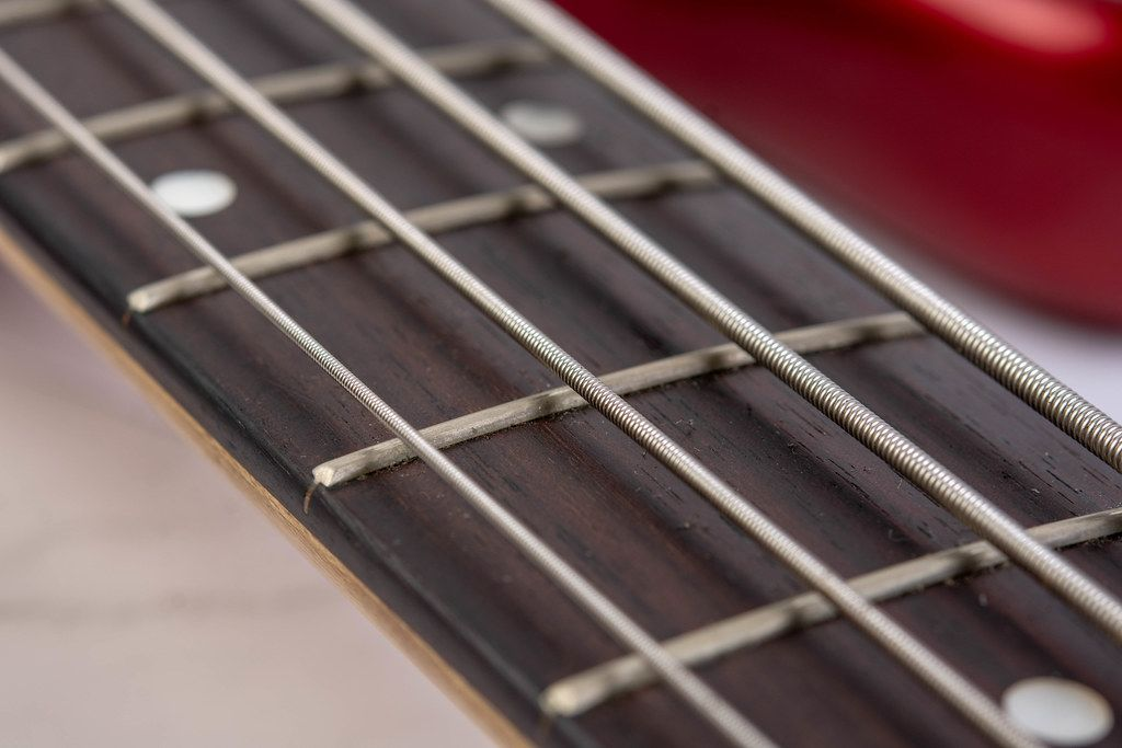 Closeup of Bass Guitar Neck with Strings