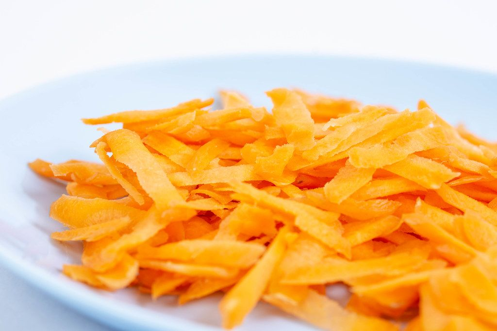 Closeup of Grated Carrot on the plate