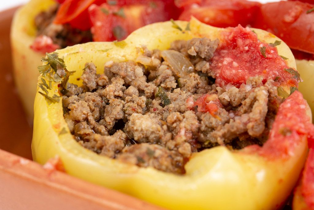 Closeup of Paprika stuffed with Minced Meat