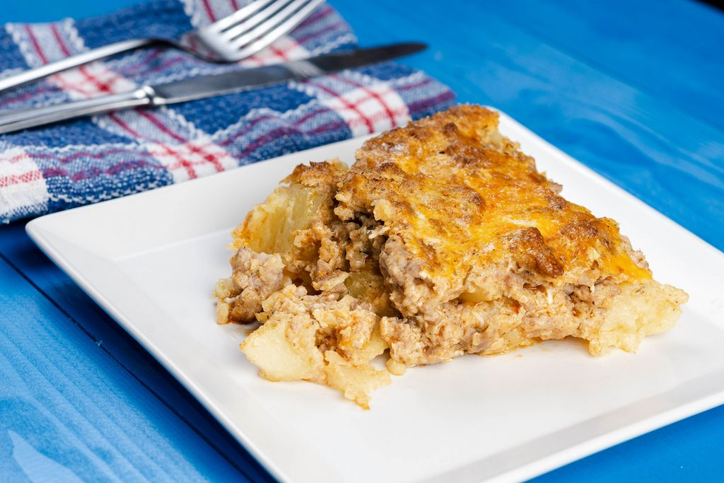 Closeup of served Minced Meat and Potatoes homemade pie