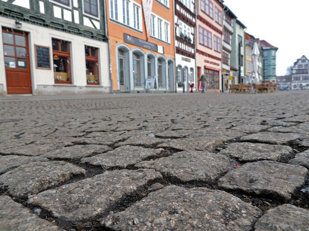 Cobble stone on a central square in Erfurt, Germany