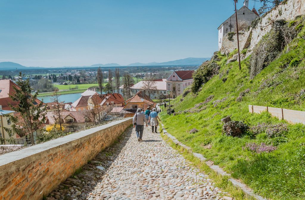 Cobble stone path from town to the castle in Ptuj, Slovenia