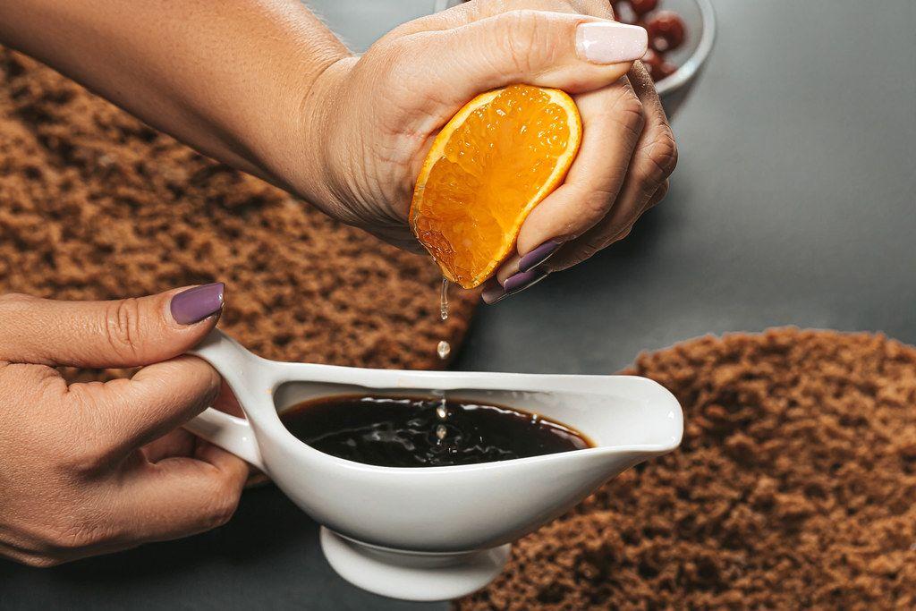 Coffee with orange juice - impregnation for cake closeup (Flip 2019)