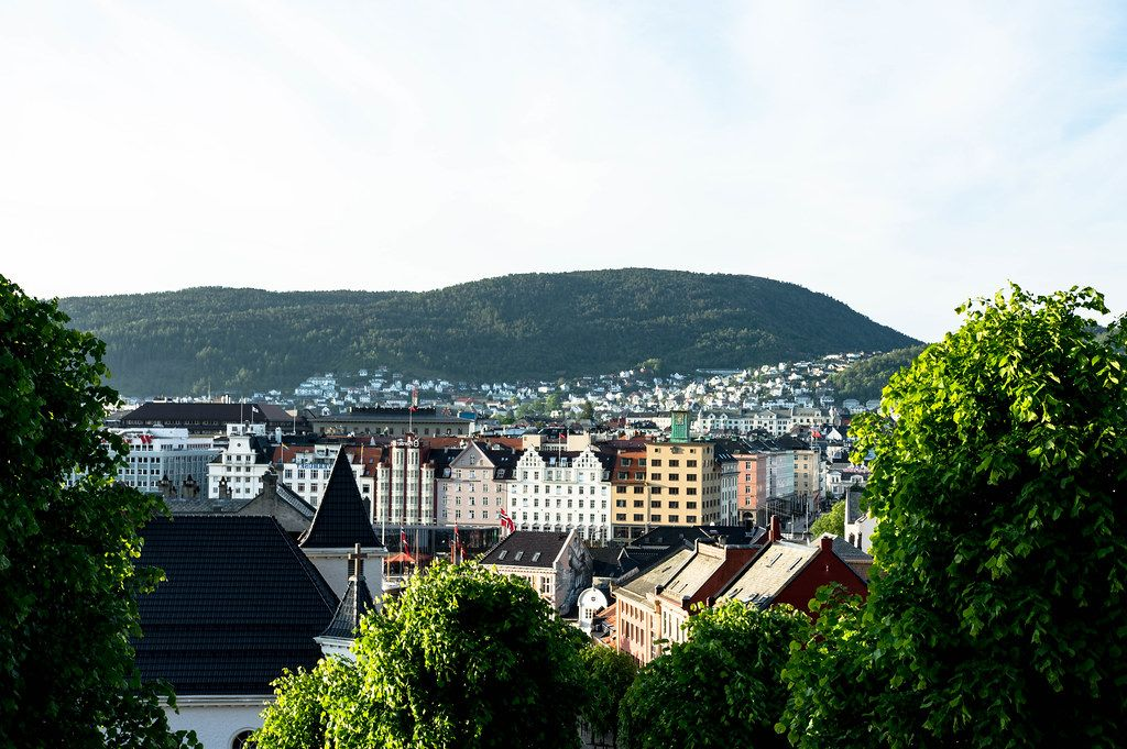 Colorful Bergen architecture with a church in foreground (Flip 2019)