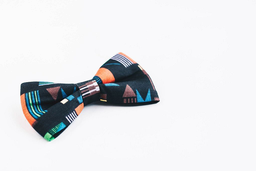 Colorful bow tie on white background