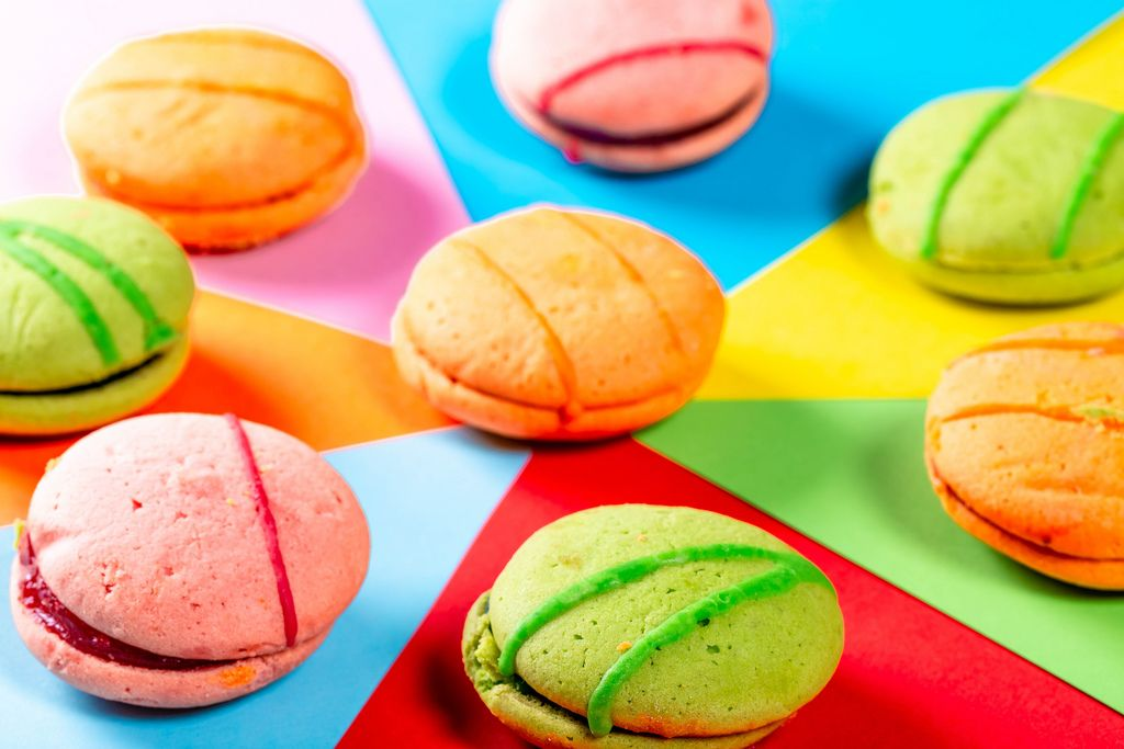 Colorful cookies on a bright background