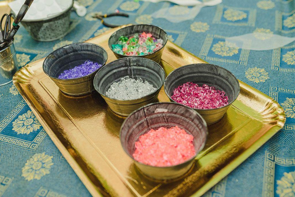 Colorful Crystals In Metal Bowls For Handmade Bracelets (Flip 2019)