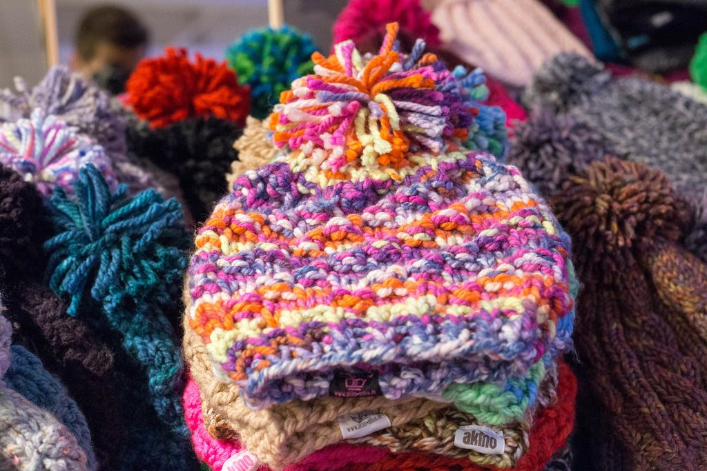 Colorful knitted caps