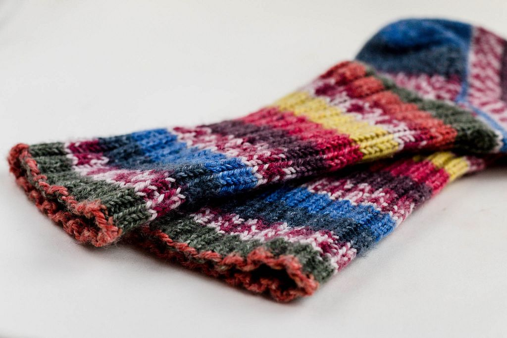Colorful knitted socks