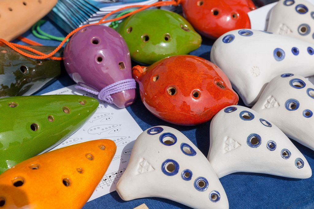 Colorful ocarinas from The Legend of Zelda