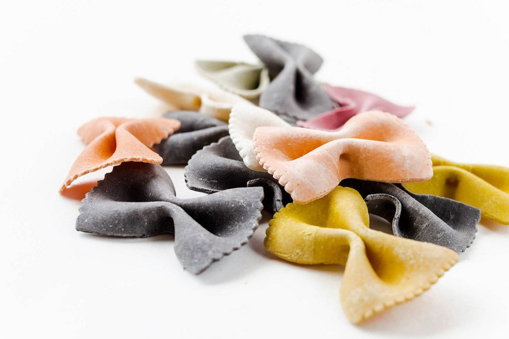 Colorful raw italian pasta