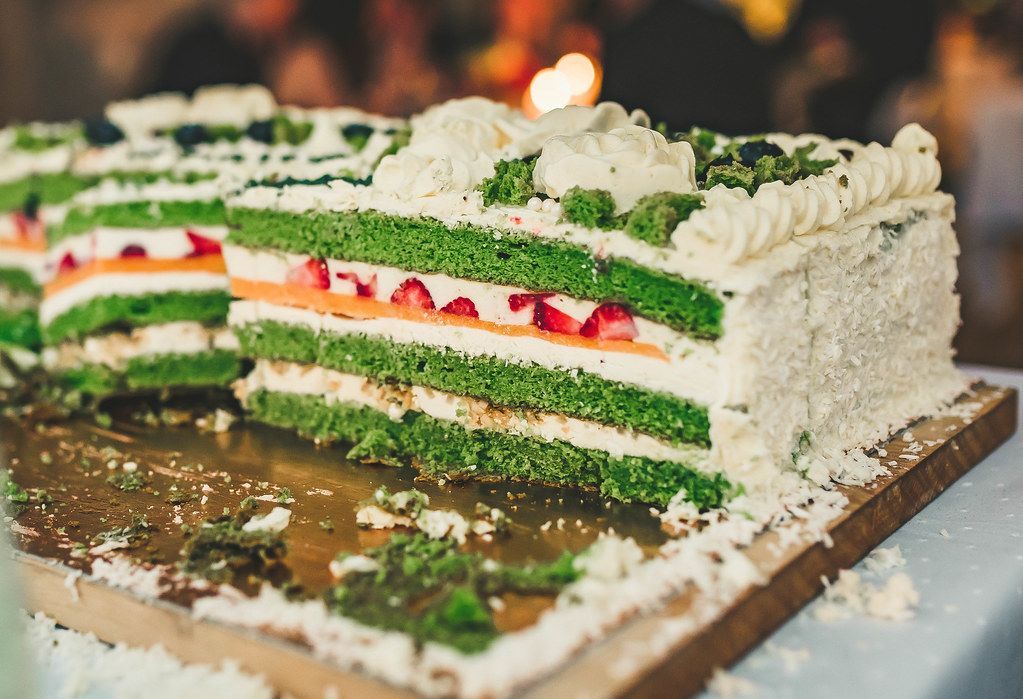 Colorful Spinach Cake With Cream