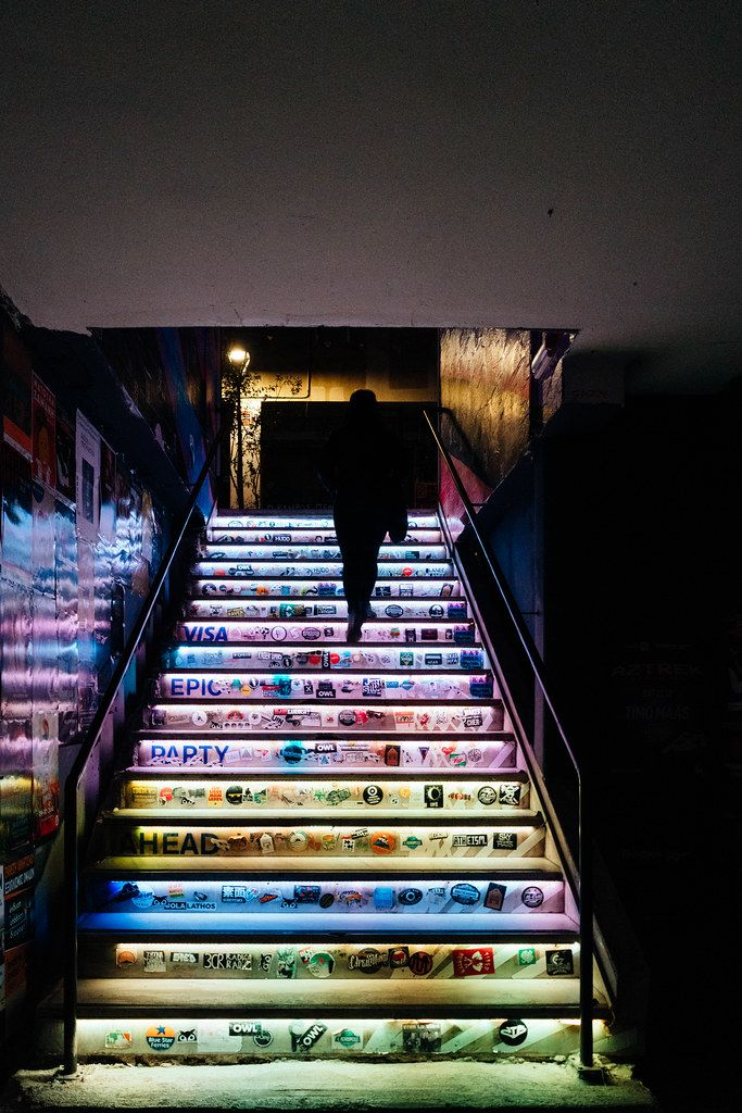 Colorful stairs in 6 dogs pub