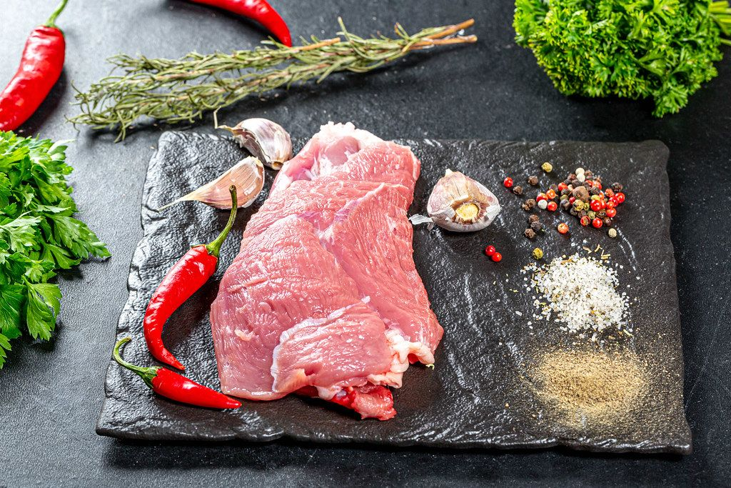 Cooking background with raw meat and spices
