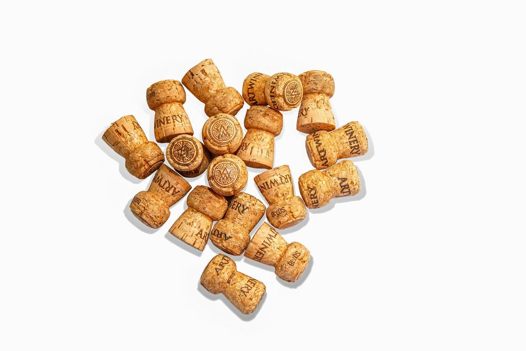 Corks from Champagne on white background
