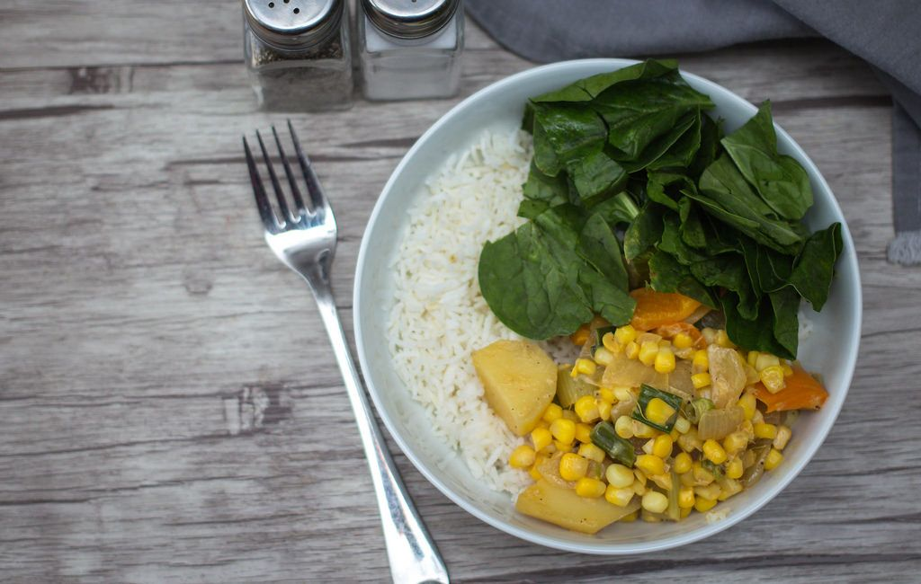 Corn Stew with Spinach and Rice  Top View
