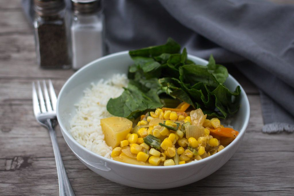 Corn Stew with Spinach and Rice