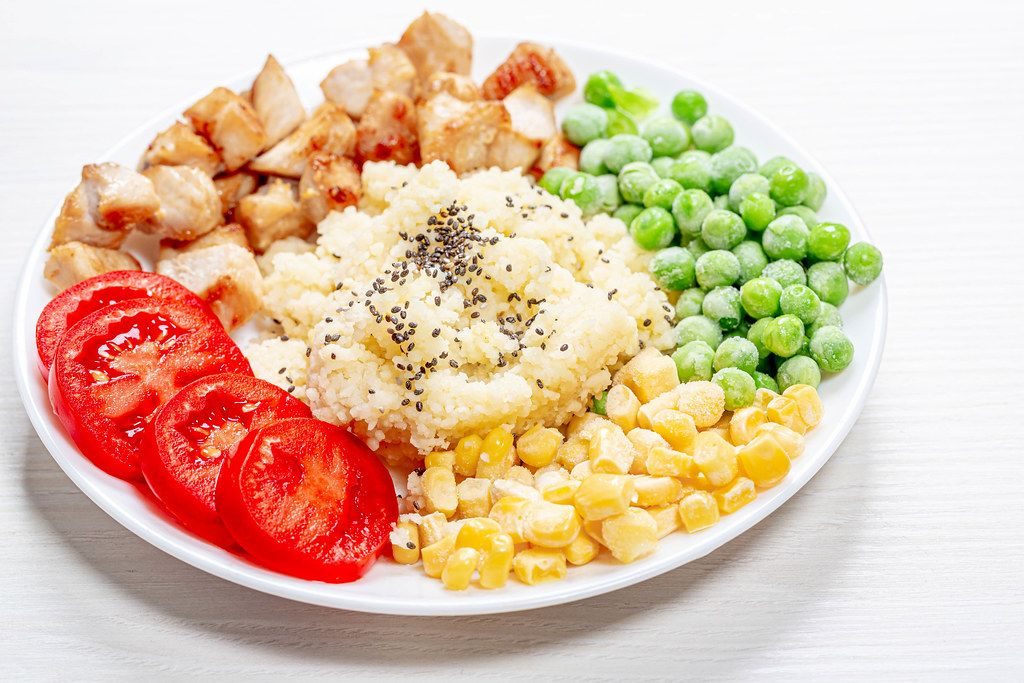 Couscous with Chia seeds, young peas, corn, tomatoes and baked chicken on a white plate