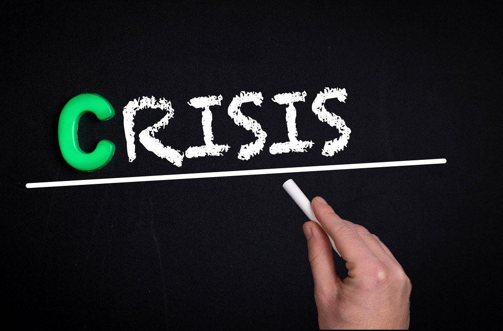 Crisis text on blackboard