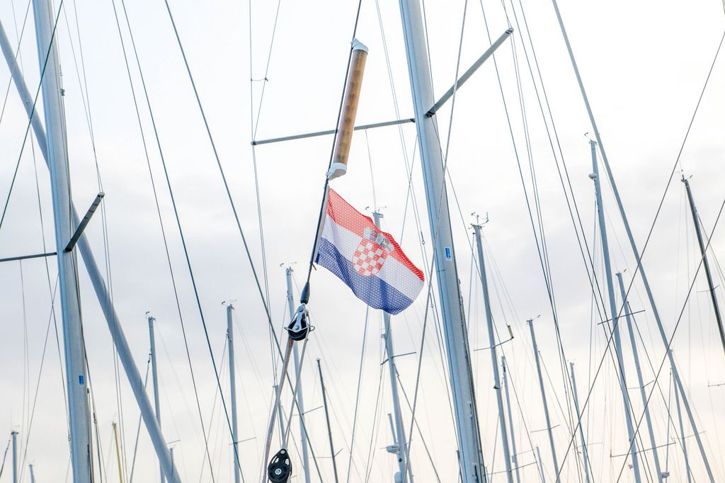 Croatian flag on sailboat