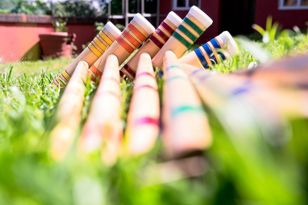 Croquet sticks on grass