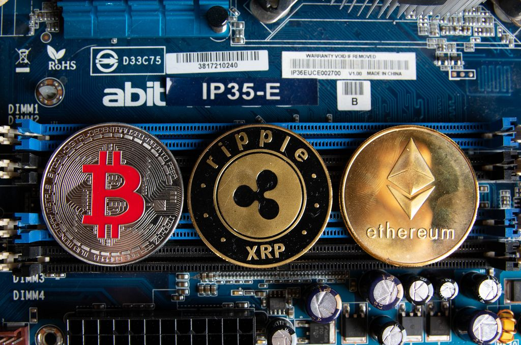 Cryptocurrencies on a computer parts