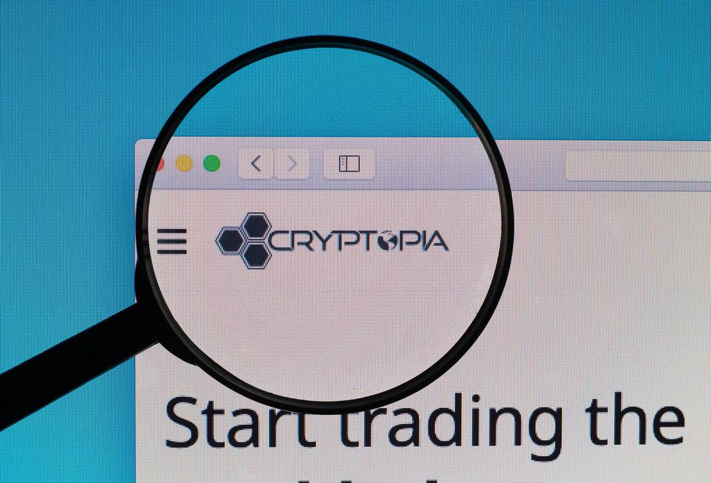 Cryptopia logo under magnifying glass