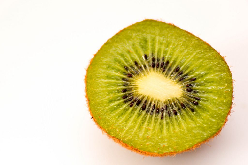 Cut Kiwi on a White Background