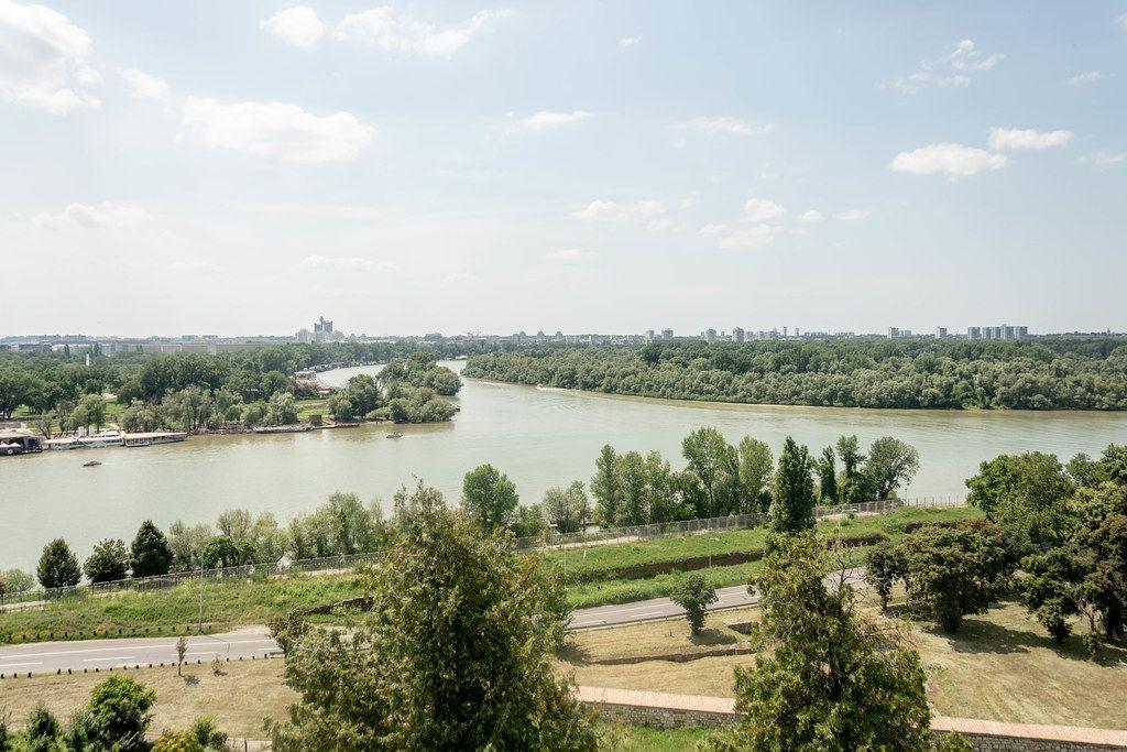 Danube and Sava rivers at Kalemegdan Fortress in Belgrade