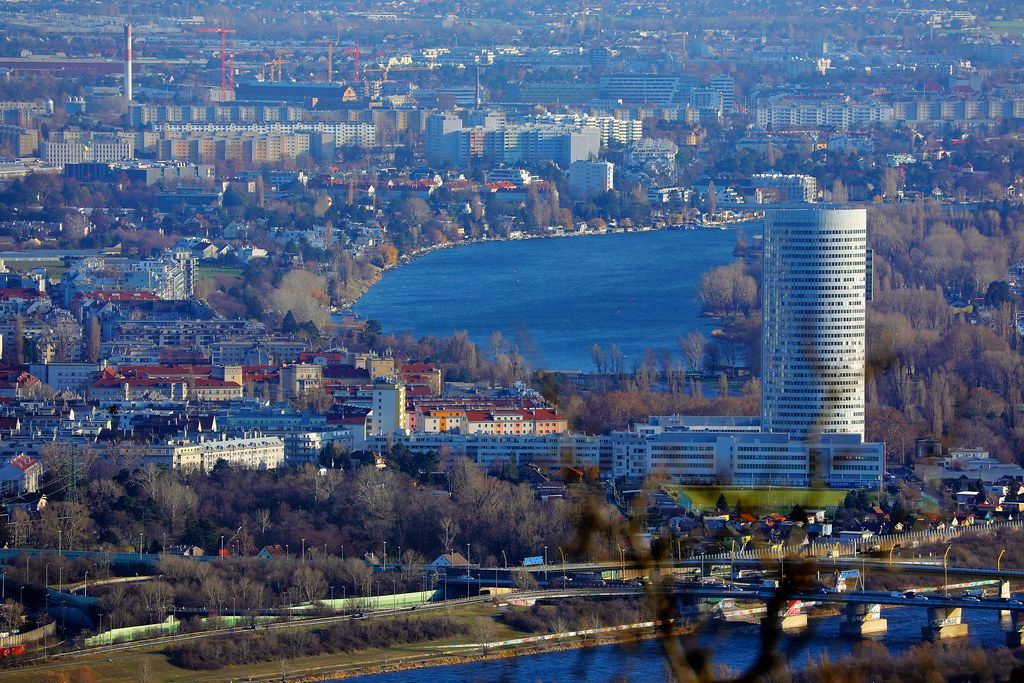 Danube river in Vienna, Austria, view from above