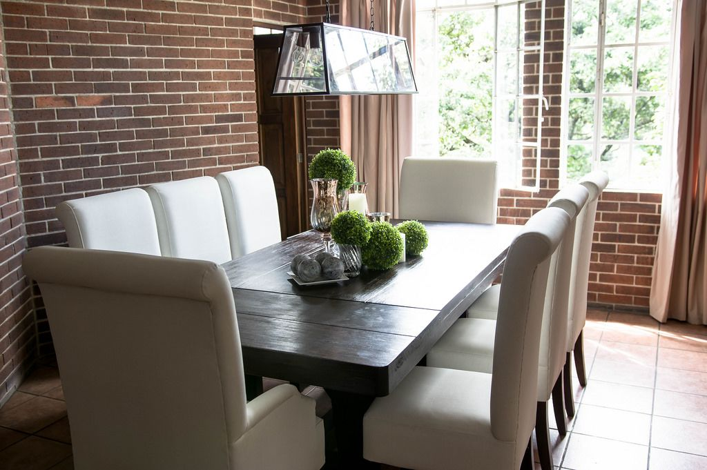 Dark wood dining room