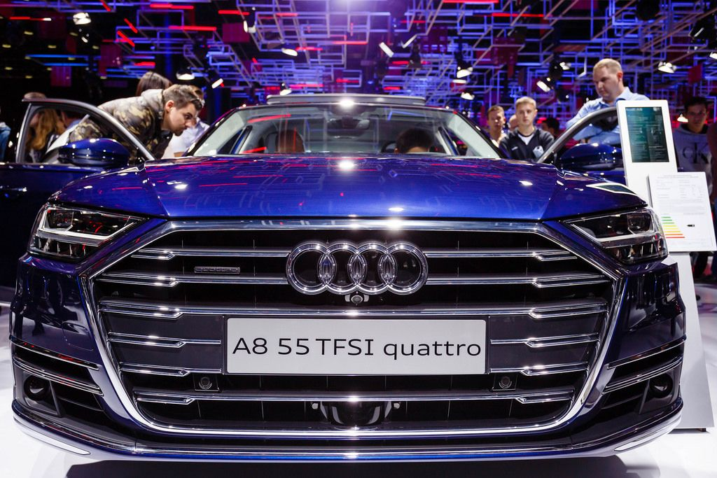 Das Audi Modell A8 55 TFSI Quattro bei der IAA 2017 in Frankfurt am Main