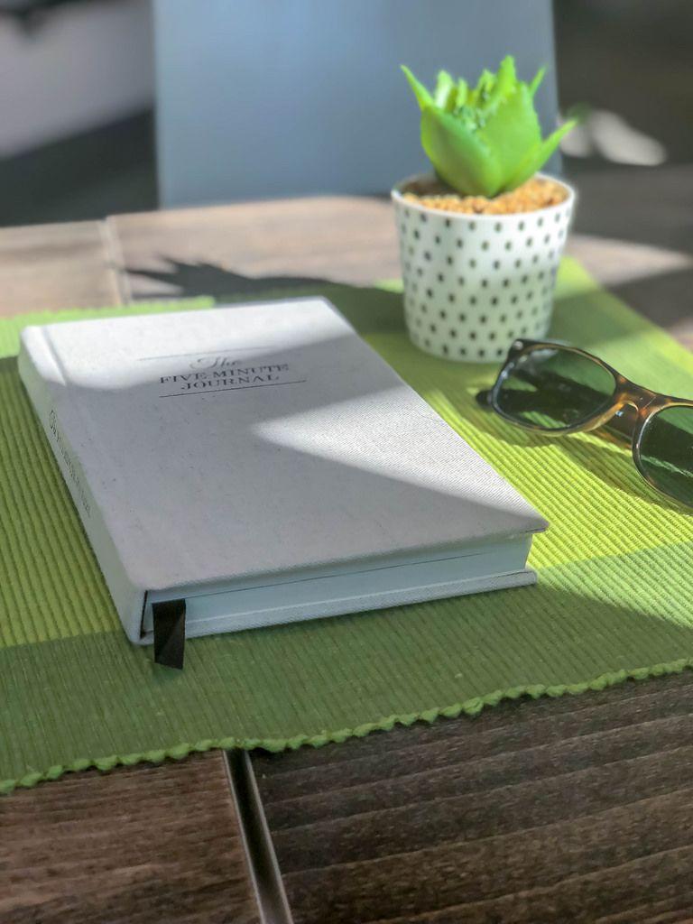 Das Buch The Five Minute Journal, Sonnenbrille und eine künstliche Pflanze auf dem Tisch