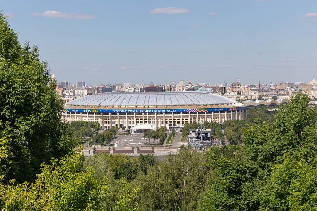 Das Olympiastadion Luschniki aus der Ferne