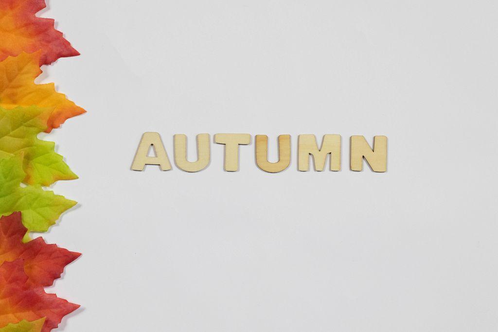 Das Wort Autumn und abgefallene Blätter