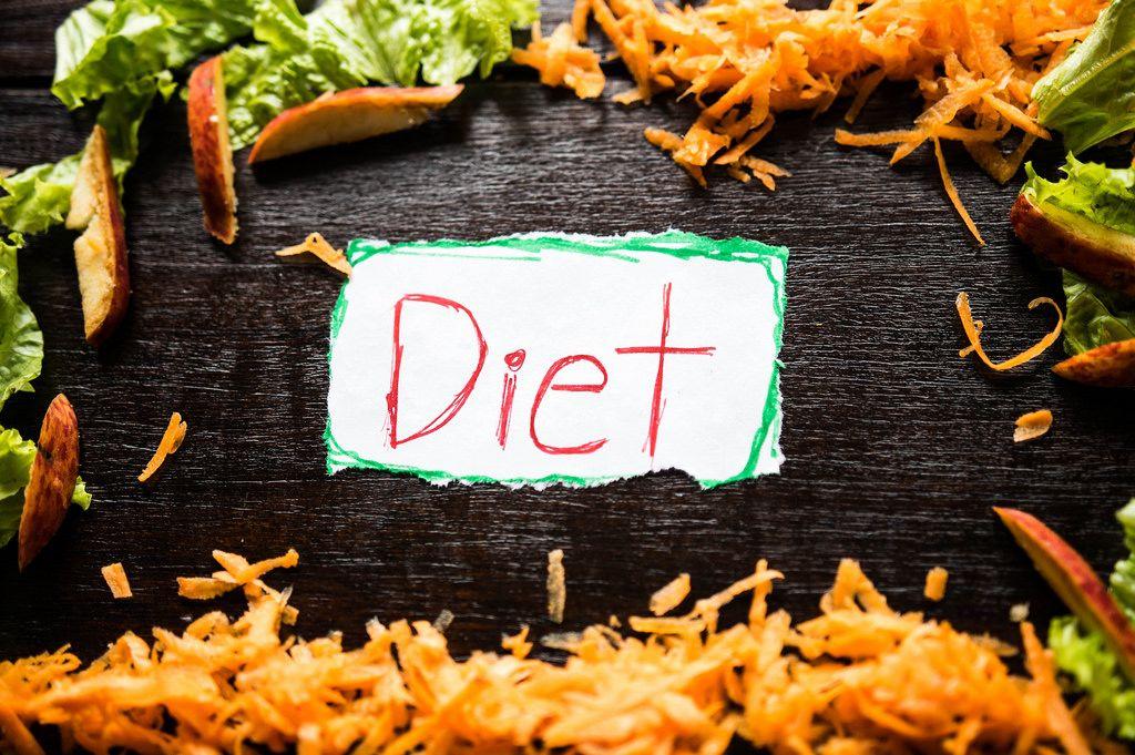 Das Wort Diät auf einem Stück Papier geschrieben mit Rohkost als Rahmen