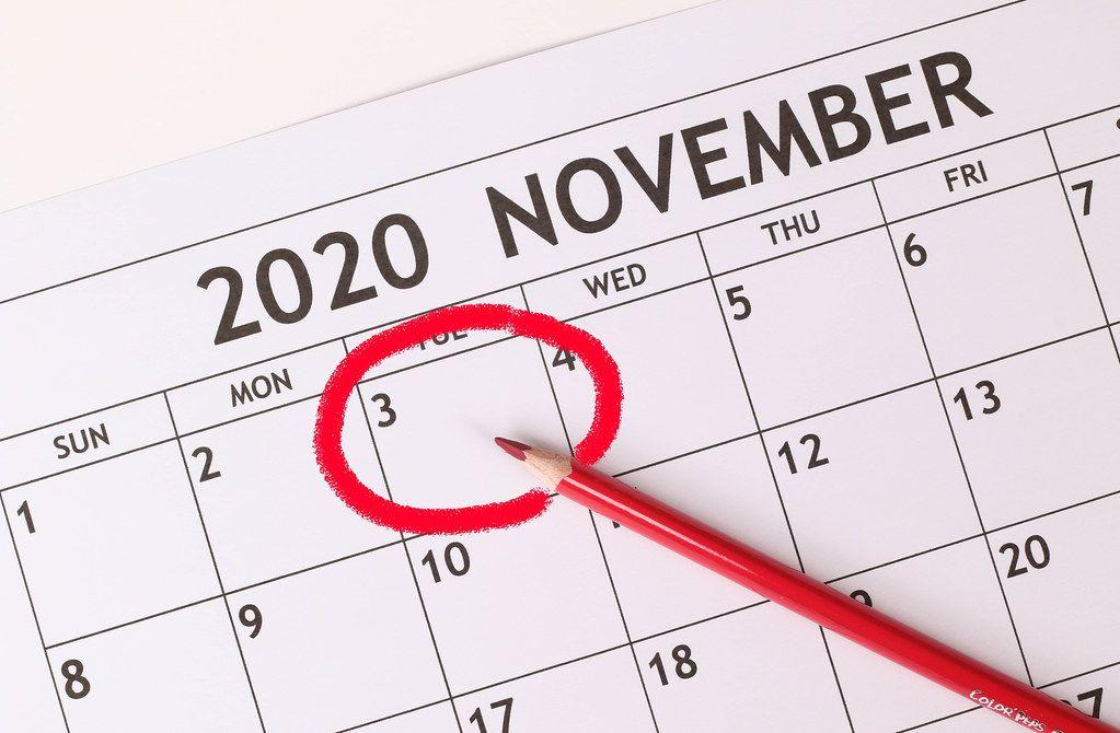 Date 3rd November 2020 marked in calendar