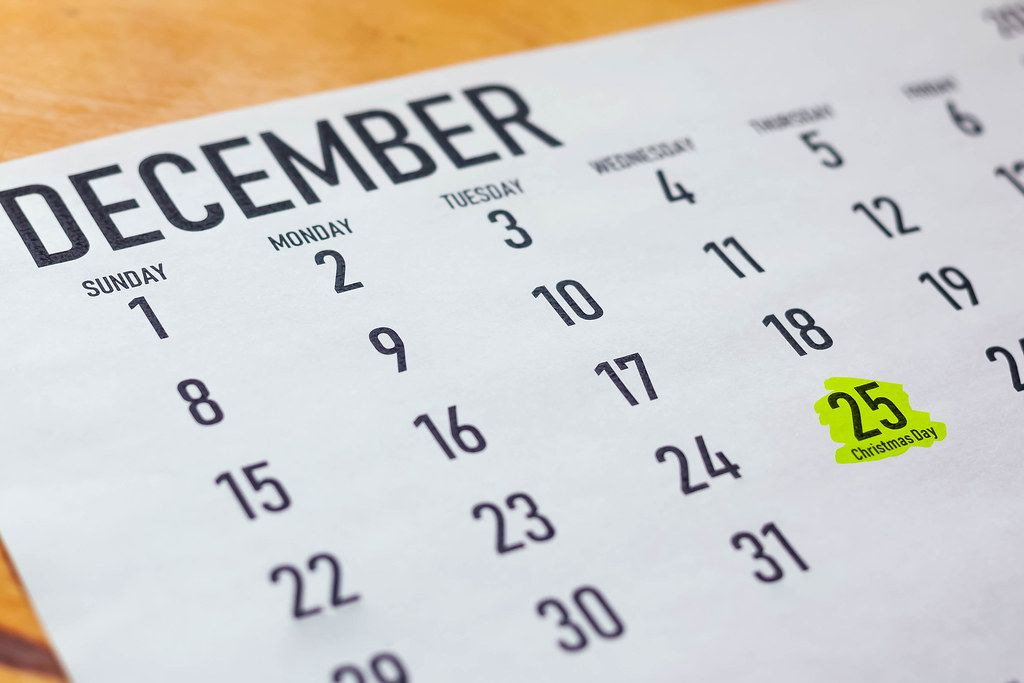 December 2019 calendar with 25th - Cristmas day marked