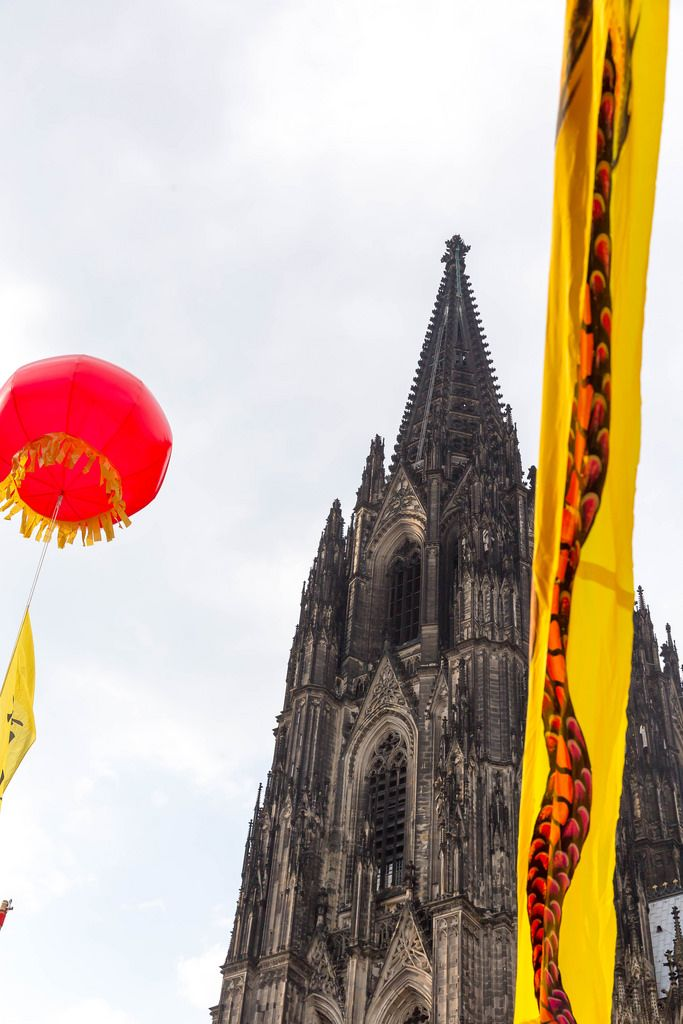 Decoration at the Chinafest and the Cologne Cathedral in the Background