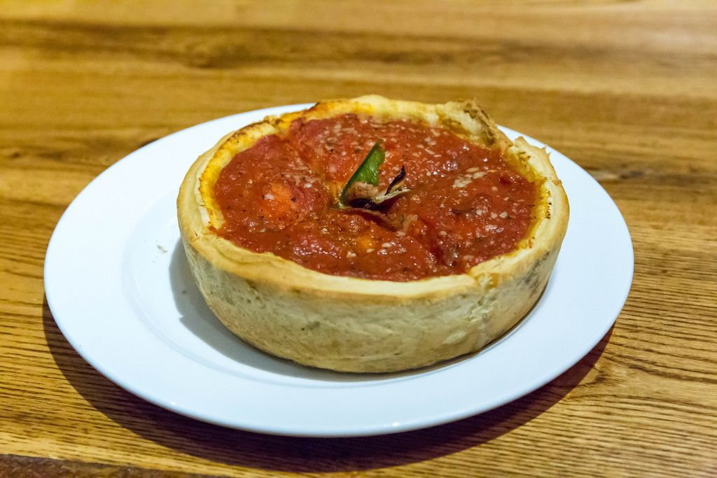 Deep Dish Pizza: The Chicago version of Pizza