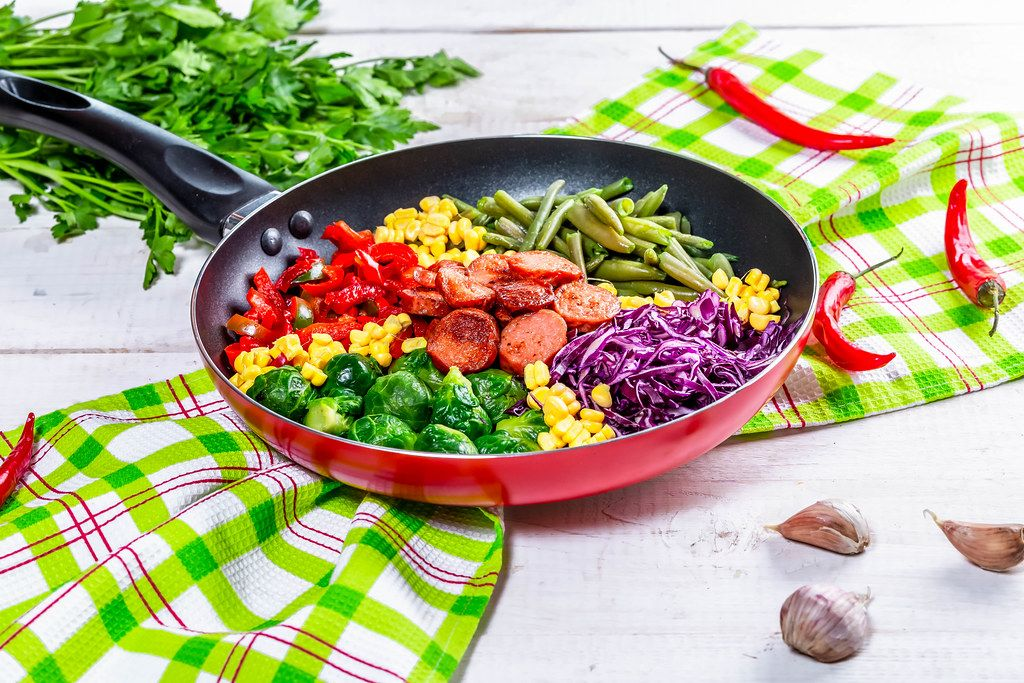 Delicious Breakfast with vegetables and sausages on the table with parsley and garlic (Flip 2019)